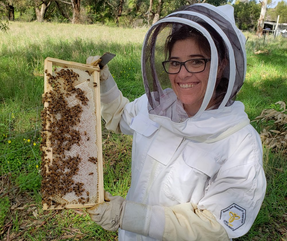 Woman showing how to start beekeeping